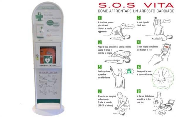 Armadietto per il defibrillatore, totem per il defibrilaltore